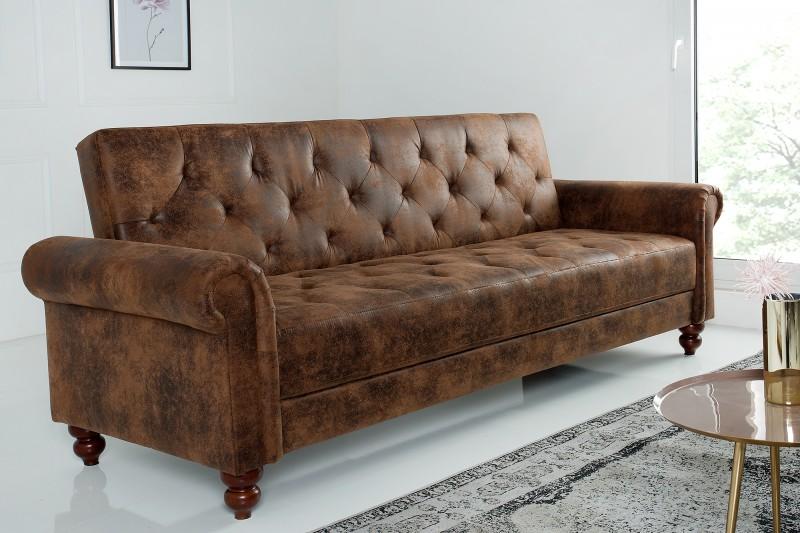 b1e6b8935a Vintage hnědá luxusní sedačka se sklopným opěradlem MAISON VINTAGE.