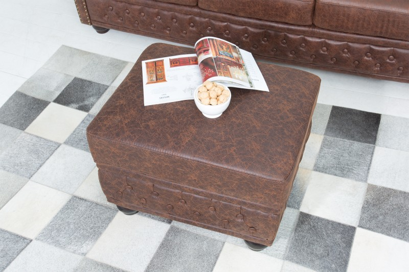 Taburet CHESTERFIELD POUFFE LEATHER