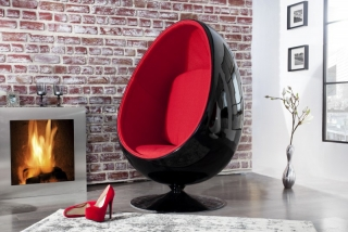Křeslo SPACE EGG BLK/RED
