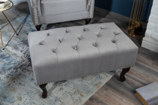Taburet CHESTERFIELD STOOL SILVER